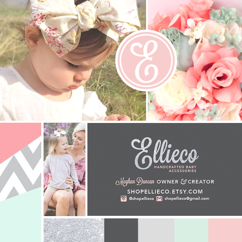 Design Mood Board for Ellieco Baby Accessories Etsy Shop