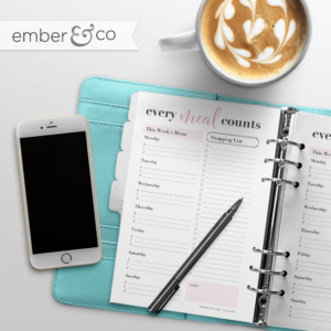 Every Meal Counts Planner Printable Design by Ember & Co Design Studio, Meal Planner, Meal Planning, Downloadable