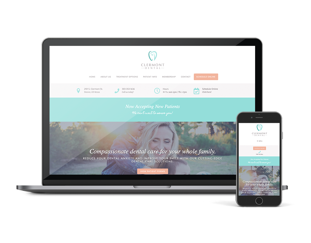 Wordpress Website for Dental Practice, Clermont Dental in Denver CO