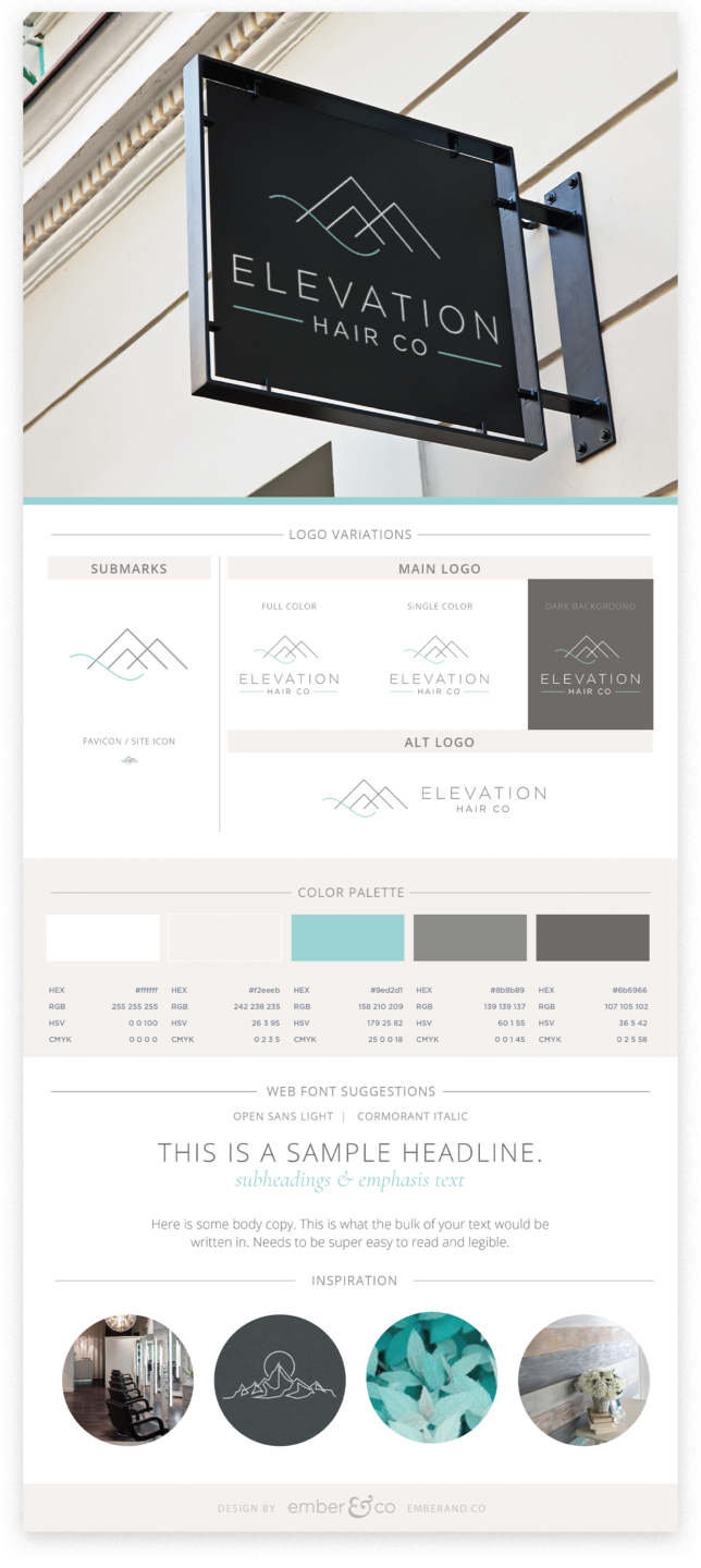 Elevation Hair Co Brand Board by Ember & Co Design Studio