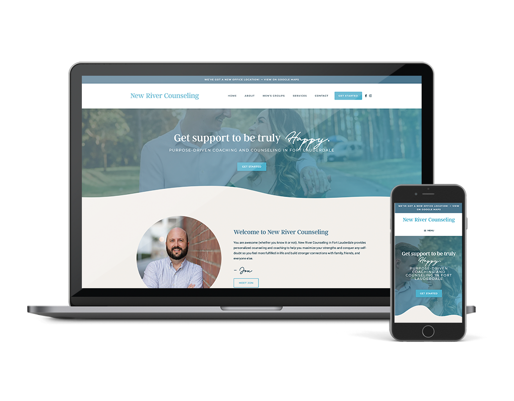 Wordpress Website Design for Mental Health Therapist Counselor in Fort Lauderdale FL, New River Counseling