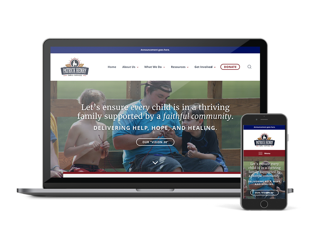 Wordpress website design for non-profit, Patrick Henry Family Services, development by Beth of Fates Allow