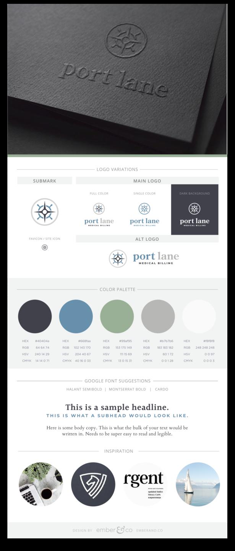 Brand Board for Port Lane Medical Billings by Ember & Co Design Studio