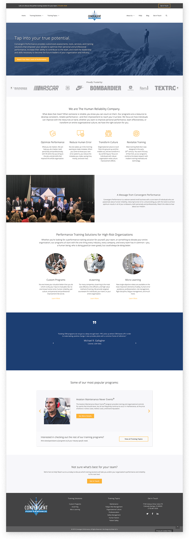 Wordpress Website Design for Convergent Performance in Colorado Springs, CO