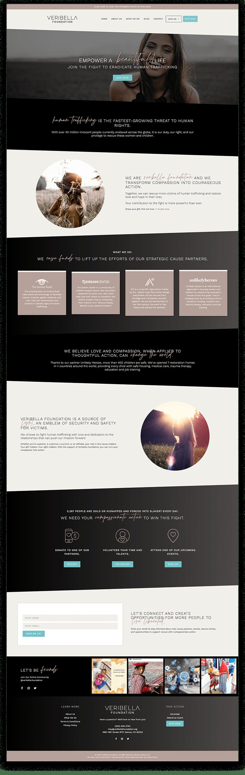 Veribella Foundation Non-Profit WordPress Website