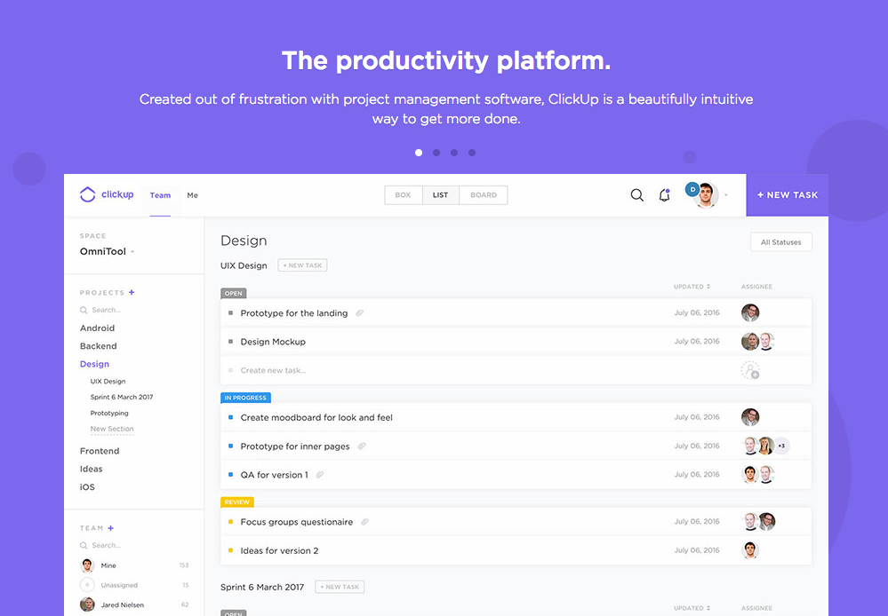 My favorite project management app: ClickUp