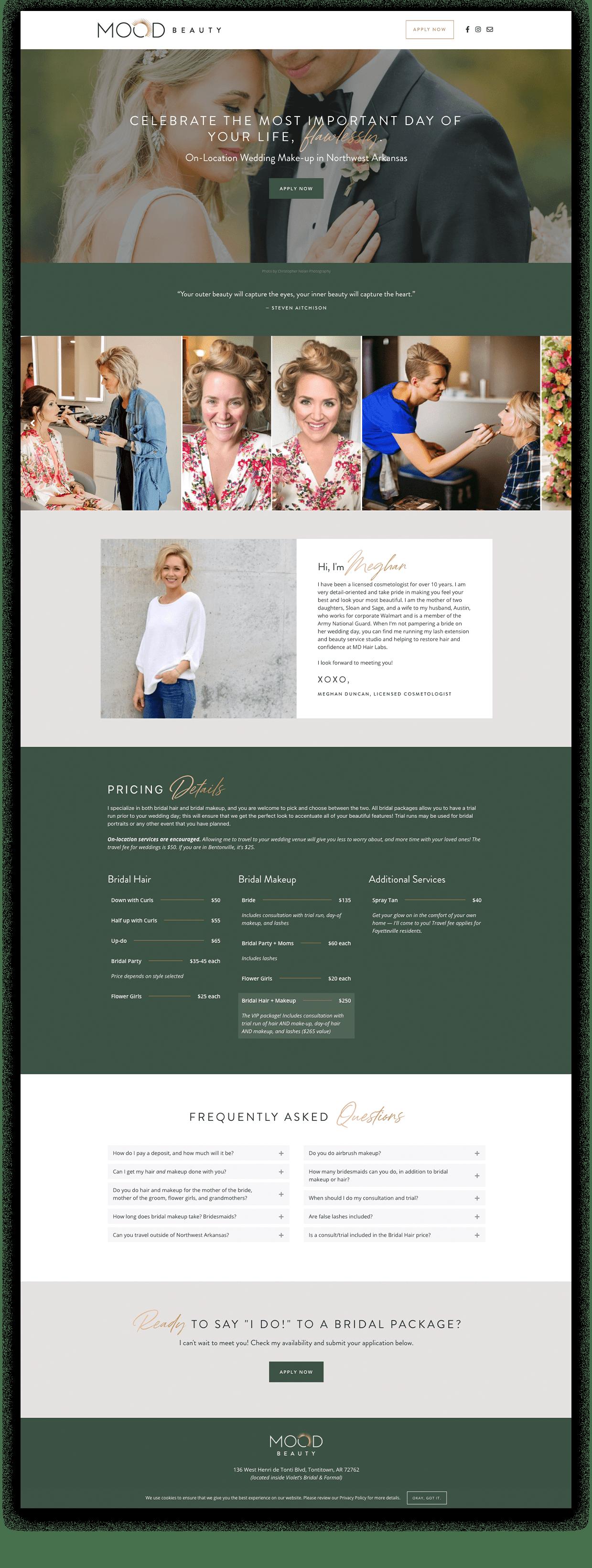 MOOD Beauty WordPress Website Design